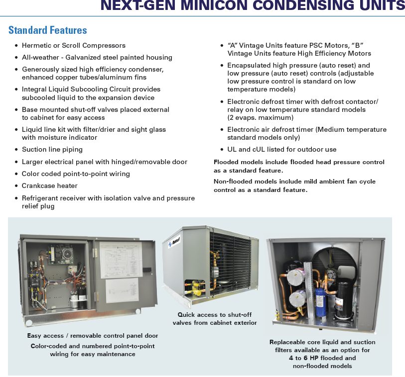 condensing unit standard features